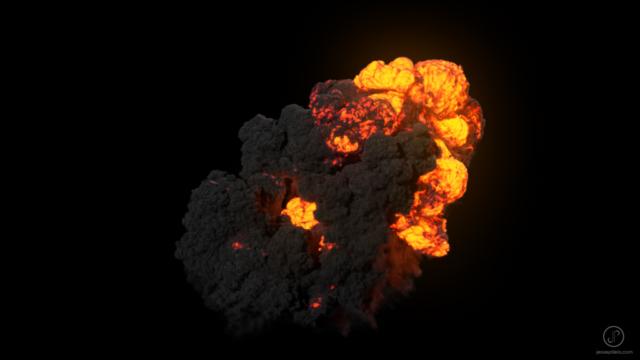 large scale explosion fumefx vfx simulation cgi 3D
