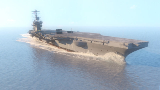 aircraft carrier large scale water simulation ship wake phoenixfd