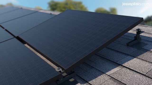 solar panel system 3d rendering visualization realistic