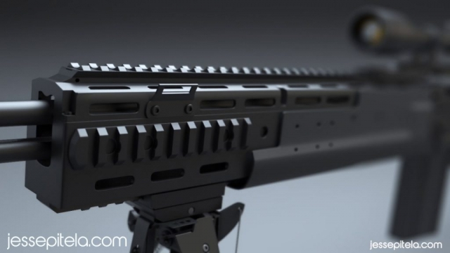 weapon sniper rifle photorealistic 3D rendering visualization