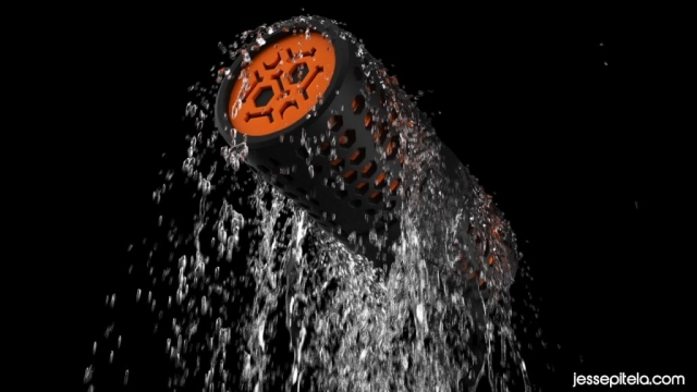 waterproof speaker water 3d animation rendering vfx cgi realflow. Water simulation. Phoenix FD.