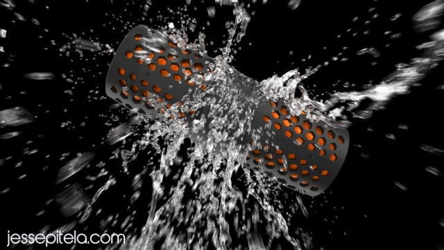 waterproof speaker water 3d animation